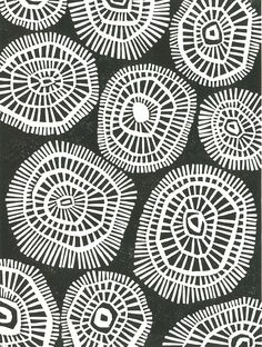 Black & white, mid-20th century style geometric circles | Margaret Rankin |  All linoleum blocks are cut by hand and printed by hand using a bamboo ladle. There are small variations from print to print due to the hand printing process