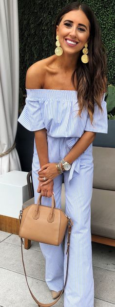 #spring #outfits woman in black and white pinstriped off-shoulder romper pants. Pic by @dressupbuttercup