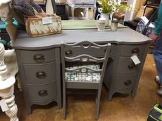 Desk painted with Amy Howard Graphite!