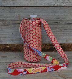 Water Bottle sling, Fabric Water Bottle Carrier, Bottle Holder, Fabric Bottle purse, Cross Body water bottle sling, Cotton Bottle Carrier