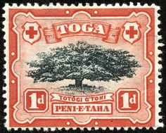 "Tonga  1897 Scott 40 1p deep red & black ""Ovava Tree"""