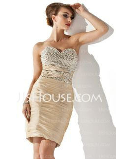 Sheath Sweetheart Short/Mini Taffeta Cocktail Dress With Ruffle Beading Sequins (016008490) - JJsHouse