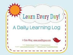 """""""What Did I Learn Today?""""  This learning log will help students build the important habit of daily reflection. $2.50"""