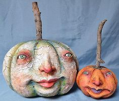 Cool pumpkin heads - maybe make with paper mache and a stick? Collins Gifts, Vergie Lightfoot, Folk Artist