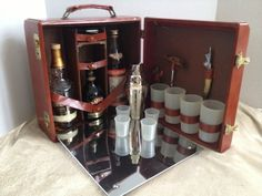 RESERVED FOR MATT Retro Vintage Leather Trav-L-Bar Portable Bar
