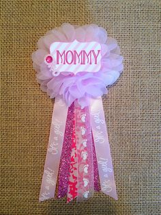 Pink Baby Shower Mommytobe Flower Ribbon Pin Corsage by afalasca, $14.00
