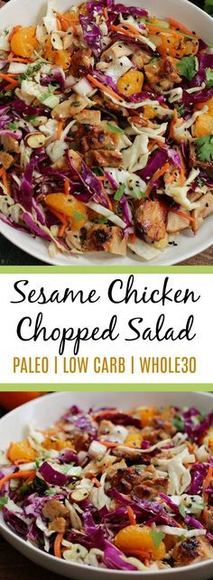 Easy Sesame Chicken Chopped Salad is Simple and Delicious. It's a hit at any gathering or party and there's never any leftovers! If you love Applebee's oriental salad, you'll love this healthier option! #paleo #lowcarb #whole30recipes #whole30salad #paleochicken