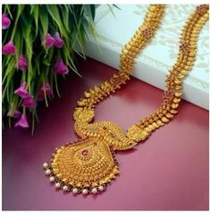 Gold Haram Designs, Gold Earrings Designs, Gold Jewellery Design, Necklace Designs, Gold Mangalsutra Designs, Gold Designs, Real Gold Jewelry, Gold Jewelry Simple, Indian Jewelry