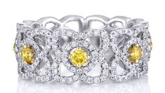 Enchanted Lotus Band with yellow diamonds, set in white gold. Total carat weight 1.21