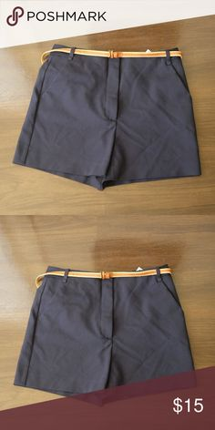ZARA HIGH WAISTED SHORTS w  BELT Color  Dark Blue Zara Shorts Skorts Zara  Shorts 473c33445df