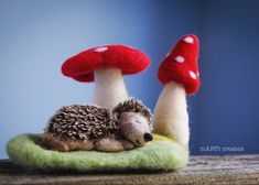 Hand Knit Blanket, Knitted Blankets, Fiber Art, Wool Felt, Decorative Items, Hand Knitting, Hedgehog, Whimsical, Stuffed Mushrooms