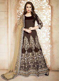 Outstanding Banglori Silk  Embroidered Brown Floor Length Designer Suit