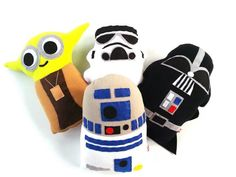 SALE! Buy 3 Take 1 FREE Plush Stuffed Toy Starwars Inspired Set of 4 Yoda Dart Vader R2D2 Stormtrooper Characters by ticklesbytaylor