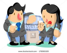Business man and woman at water cooler by AtomicBHB, via Shutterstock