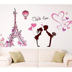 Heart Shapes Eiffel Tower Lovers Butterflies Wall Decal Home Sticker PVC Murals Vinyl Paper House Decoration Wallpaper Living Room Bedroom Art Picture DIY for Children Teen Senior Adult Nursery Baby -- Check out the image by visiting the link.