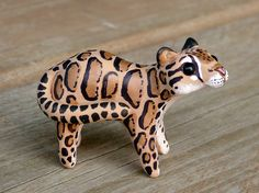 Tiny clouded leopard - Handmade miniature polymer clay animal figure on Etsy, $25.00