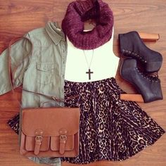White Top + Leopard Skater Skirt + Black Lita Platforms Lace Up Ankle Boots + Jacket + Knit Infinity Scarf