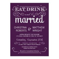 Rustic Typography Plum Purple Wedding Invitations