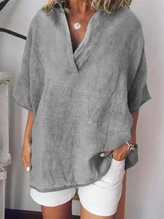 linen clothes Outfit For Women - Linen Short Sleeve Solid Casual Shirts Blouses Diy Vetement, Shirt Bluse, Outfit Trends, Blouse Outfit, Outfit Jeans, Loose Shirt Outfit, Linen Shirt Dress, Blazer Outfits, Loose Shirts