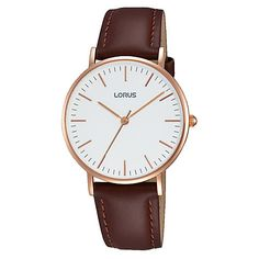 Buy Lorus Women's Leather Strap Watch, Brown/White from our Women's Watches range at John Lewis & Partners. Stainless Steel Case, Smooth Leather, Quartz, Rose Gold, Watches, Lady, Brown, Stuff To Buy, Accessories
