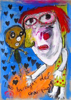 """""""Las burbujas del champagne"""" de Victoria Barranco @ VirtualGallery.com - Pintura acrílica en cartón de 50x70 cm (19.7x27.6 in). Arte marginal. Mujer con niño. La alegría de la celebración. (2015)"""