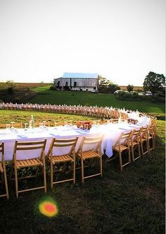 creative country wedding idea...amazing outdoor dinner. dance floor in the middle? yes please!