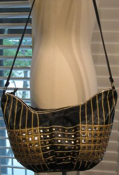 1980s Samir Black Leather Hobo Bag With Rhinestones and Gold Trim by GoodBuyForNow on Etsy