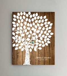 100 Guest Wedding Guest Book Wedding Tree by ThePrintCafe, $38.00 A cute, unique spin on a guestbook! Guests sign on the leaves, rather than writing their names in a more traditional book. It isn't actually on wood, it is just printed on a poster, so the background and birds can be any color you want. I thought this would be really cool, imo