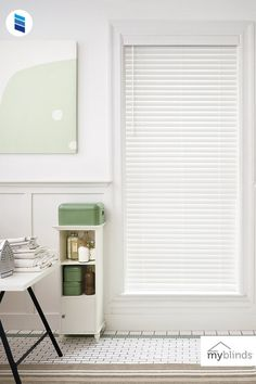 """MyBlinds 2"""" Faux Wood Blinds in Pure White Bathroom Window Treatments, Bathroom Windows, Contemporary Valances, Faux Wood Blinds, Bamboo Shades, Pure White, Real Wood, Homes, Curtains"""