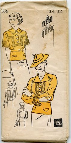 1930's Blouse Pattern New York Pattern 554 Ladies' and Misses' Blouse Vintage Sewing Pattern Bust 32