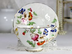 Vintage Teacups, Timeless Bone China Cups and Saucers Aynsley Multi Colored Poppies, Tea Cup and Saucer, English Bone China 12522 Tea Cup Set, My Cup Of Tea, Tea Cup Saucer, China Cups And Saucers, Teapots And Cups, Green Tea Cups, China Tea Sets, Bone China, Tea Time
