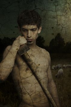 joseph anderson - shirtless boy with sheep by david daigle - photo montage