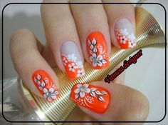 10 nail art designs step by step Flower Nail Designs, Cool Nail Designs, Simple Designs, Nails 2016, Finger Nail Art, Floral Nail Art, Dipped Nails, Get Nails, Orange Nails