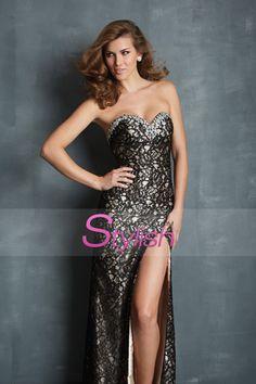 2014 Lace Prom Dresses Red Sweetheart Column Sweep Train Rhinestone Beaded USD 169.99 STPB355M3P - StylishPromDress.com