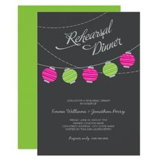 Rehearsal Dinner Blue and Green Paper Lanterns Invitation , Outdoor Wedding Invitations, Rehearsal Dinner Invitations, Wedding Rehearsal, Rehearsal Dinners, Pink Green Wedding, Summer Wedding Colors, Create Your Own Invitations, Custom Invitations, Party Invitations