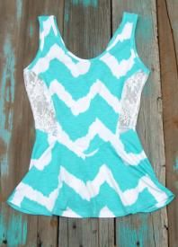 Rodeo Top with lace sides and chevron print $15.99