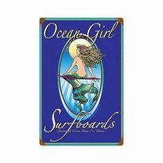 """""""Ocean Girl Surfboards"""" Vintage Steel Sign, Mermaids"""