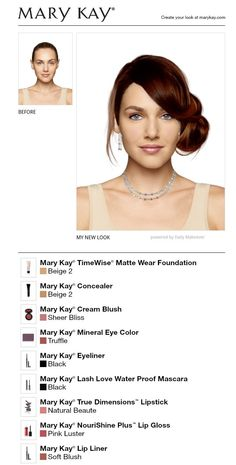 I just got a great new look using the FREE Mary Kay® Virtual Makeover. Try it out for yourself and then share it with all your friends!she looks much better now