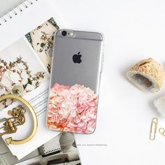iPhone 7 Coral Hydrangea Clear Rubber Case iPhone by HelloNutcase