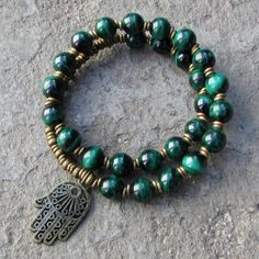 Genuine Malachite, for Intuition on this cool 27 bead wrap mala bracelet #green