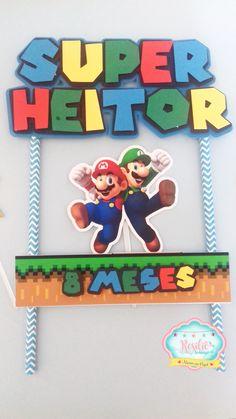 topo de bolo super mario #bolomario #bolosupermario #festamario #mariobros Bolo Super Mario, Mario E Luigi, Games, Gaming, Plays, Game, Toys