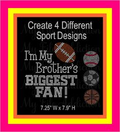 I'm My Brother's Biggest Fan Basketball Sister Instant Download Rhinestone SVG EPS Design File by MyFileAddiction