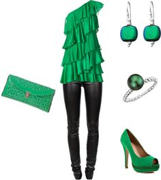 Gorgeous Green, created by miss-mimz on Polyvore- So cute but not sure if I can pull that color off...