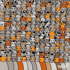 In the cartoon brain teaser the aim is to find a spotty dog among a herd of speckled cows. Finding the canine fiendishly tricky as he is well disguised among the cattle. Hidden Pictures, Dog Pictures, Best Funny Pictures, Hidden Pics, Test Visual, Reto Mental, Cartoon Brain, Cartoon Dog, Plastic Clothes Hangers