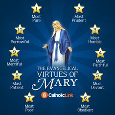 Quotes, infographics, memes and more resources for the New Evangelization. 10 Evangelical virtues of Mary Catholic Mother of God Catholic Prayers, Catholic Quotes, Catholic Register, Blessed Mother Mary, Blessed Virgin Mary, Mother Mary Quotes, Jean 3 16, Queen Of Heaven, Saints