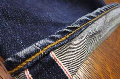 chain stitch denim | Chainstitched hem with roping fades on a 3sixteen SL-100x…