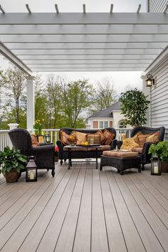 The clean lines of AZEK® Premier Rail complement an AZEK Silver Oak® deck to create a perfect balance in this serene backyard space.  Add lighting to enjoy late nights outdoors on your AZEK Deck with this classic color from the Arbor Collection®. Visit our gallery for more decking inspiration.