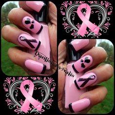 Breast Cancer Awareness acrylic nails by DanijellaDavis - Nail Art Gallery by… Sassy Nails, Love Nails, Pink Nails, Pretty Nails, Polygel Nails, Breast Cancer Nails, Nailart, October Nails, Different Nail Designs