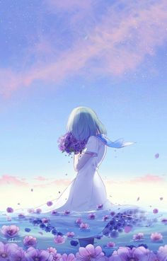 Find images and videos about art, anime and flowers on We Heart It - the app to get lost in what you love. Art Anime Fille, Anime Art Girl, Manga Girl, Anime Girls, Anime Love, Beautiful Anime Girl, Manga Anime, Fanarts Anime, Fantasy Anime