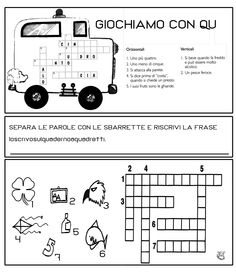 Q Montessori Math, Italian Words, Crossword Puzzles, Italian Language, Teaching Resources, Back To School, Abs, Coding, Learning